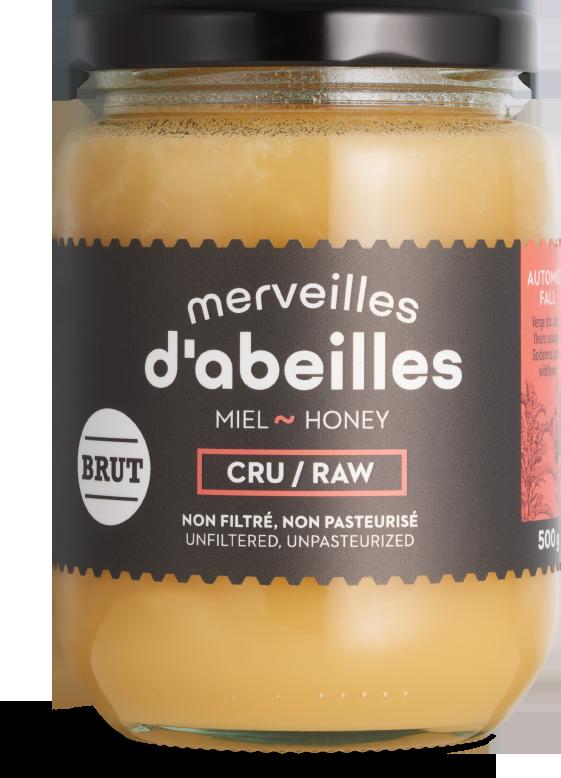 Miel d'automne brut cru non filtré 500g non pasteurisé pur Québec Merveilles d'abeilles face
