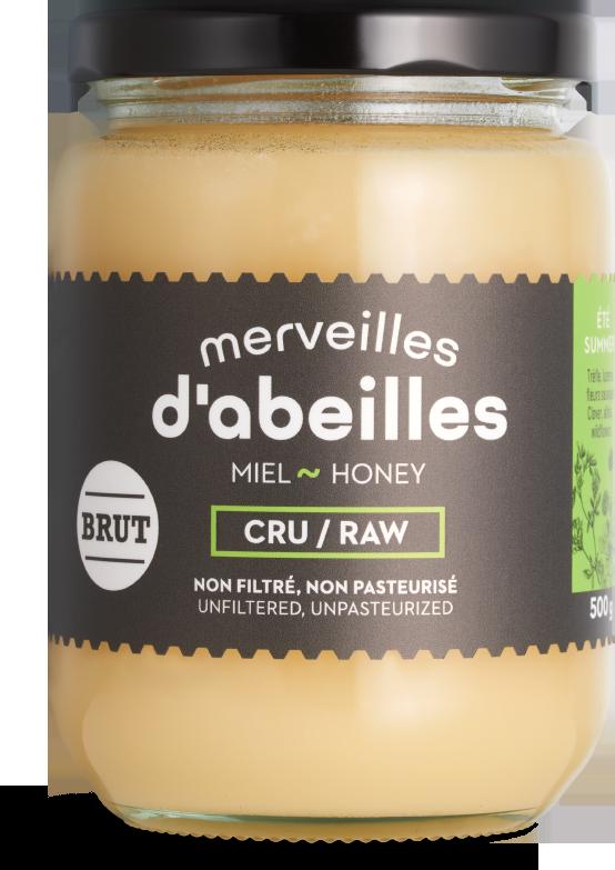 Miel d'été brut cru non filtré 500g non pasteurisé pur Québec Merveilles d'abeilles face