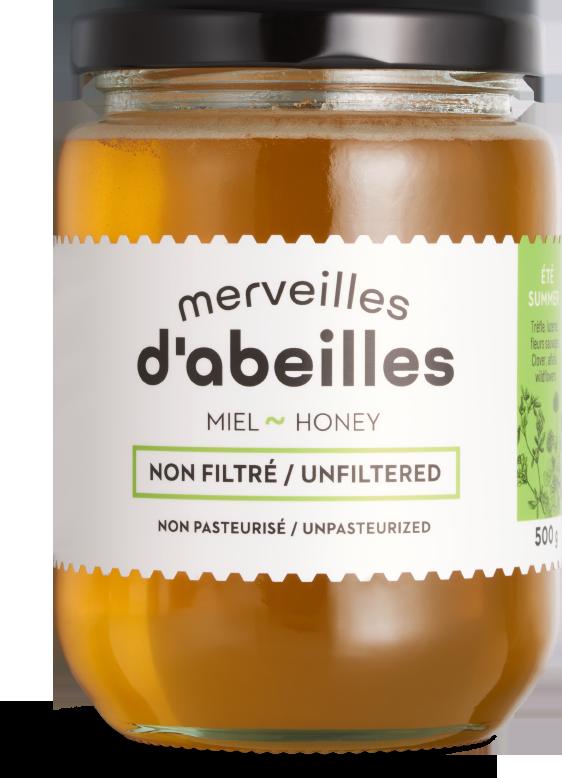 Miel d'été liquide non filtré 500g non pasteurisé pur Québec Merveilles d'abeilles face