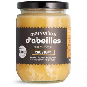 Miel de printemps brut cru non filtré 500g non pasteurisé pur Québec Merveilles d'abeilles face