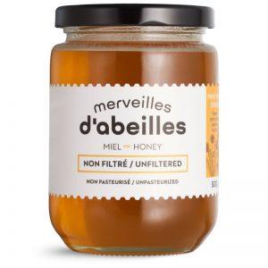 Miel de printemps liquide non filtré 500g non pasteurisé pur Québec Merveilles d'abeilles face