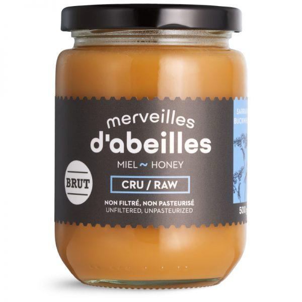 Miel de sarrasin brut cru non filtré 500g non pasteurisé pur Québec Merveilles d'abeilles face