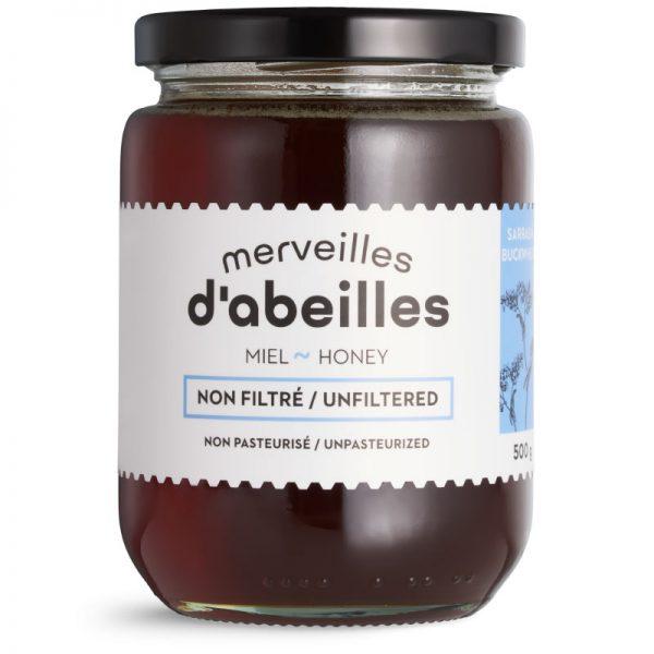 Miel de sarrasin liquide non filtré 500g non pasteurisé pur Québec Merveilles d'abeilles face