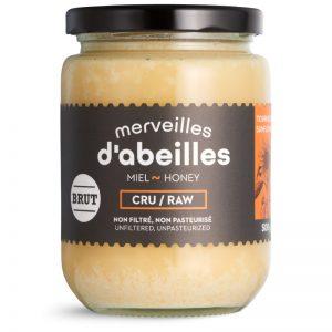 Miel de tournesol brut cru non filtré 500g non pasteurisé pur Québec Merveilles d'abeilles face