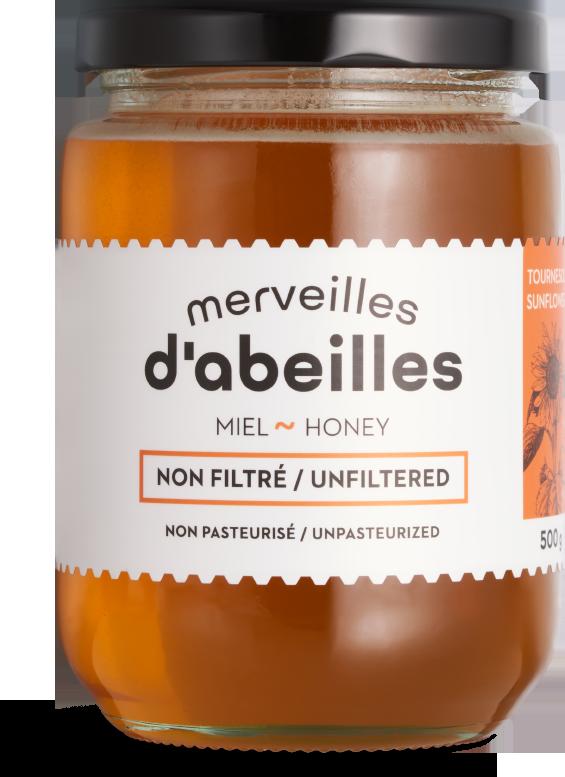 Miel de tournesol liquide non filtré 500g non pasteurisé pur Québec Merveilles d'abeilles face