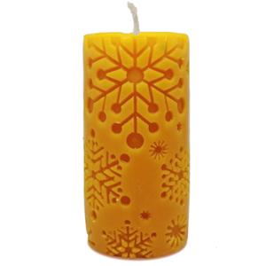 Chandelle bougie en cire d'abeille pure – Cylindre flocons de neige – Merveilles d'abeilles